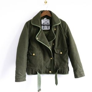 Olive Green Padded Moto Fall Jacket
